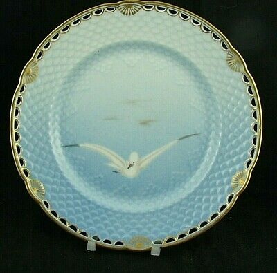 Antique B&G Seagull Pattern Reticulated Plate - Gold - Very Early Mark Pre 1900 • 200£