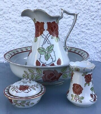 Antique Losol Ware K&CB Staffordshire Late Mayers Ewer & Basin Set Sark Roses  • 135£