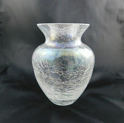 Vintage Clear Crackle Glass Posy Vase Handmade  • 14.99£