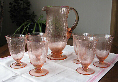 Vintage Crackle Ice Glass Large Carafe Pitcher Jug + 6 Goblets Drinking Glasses • 25£