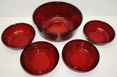 Vintage ARCOROC FRANCE  Ruby Red  Glass ~Large Serving Bowl W/4 Smaller Bowls • 7.85£