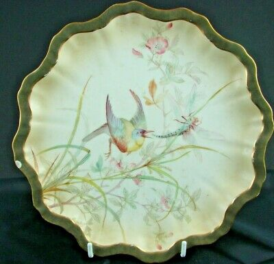 Doulton Burslem Aesthetic Period Hand Painted Plate With Birds & Dragonfly • 39.99£