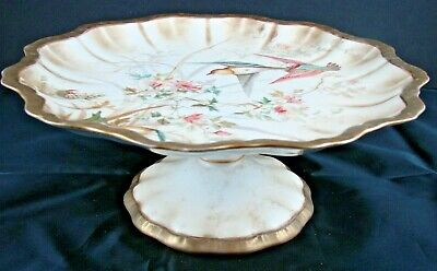 19thC Doulton Burslem Aesthetic Period Hand Painted Tazza/ Cake Stand With Birds • 49.99£