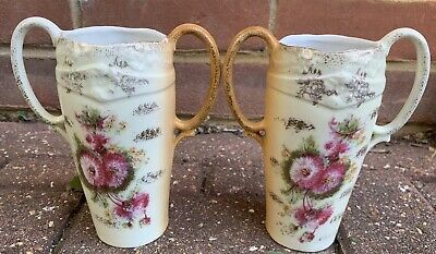 Antique RS Prussia Double Handled Vases Pair Rare! • 9.99£