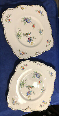 A Pair Of Vintage Tuscan China Plates 'Garden' • 4£