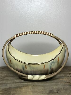 Vintage German Pottery Drip Glaze Small Bowl With Wicker Handle • 12£