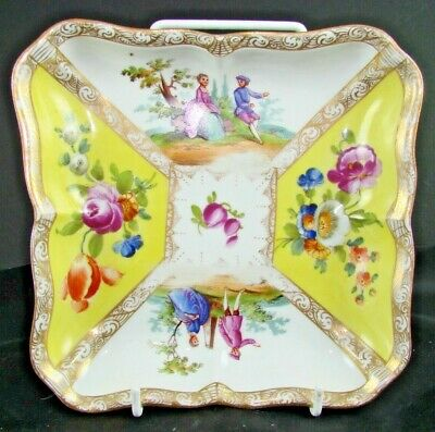 EARLY MEISSEN QUATREFOIL HAND PAINTED DISH   - From 1815 • 19.99£