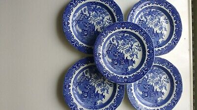 5 VINTAGE Burleigh Ware Willow Pattern Tea Plates  17cm WIDE ONE HAS SMALL CHIP • 16£