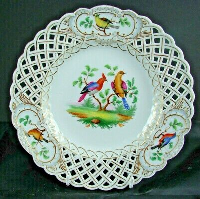 Early Meissen Reiculated Hand Painted Plate With Exotic Birds - A/f Restoration • 19.99£