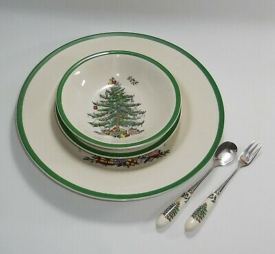 Spode Christmas Tree Plates Bowls Cake Fork Tea Spoons 12 Piece Setting • 40£