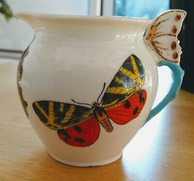 W H Goss China Butterfly Handled Jug With Three Different Butterfly Decorations • 21.02£