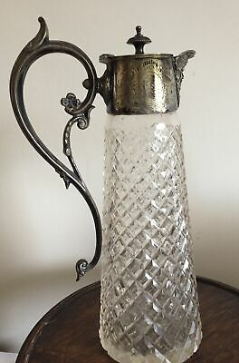 """Victorian Silver Plated Claret Jug With Mottled Glass And Bacchus Spout. 11""""h • 10£"""