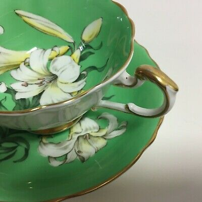 Rare PARAGON English Bone China Tea Cup & Saucer, GREEN EASTER LILY, A1388 DW • 300£