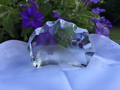 MATS JONASSON Signed ART GLASS. Etched Crystal Sculpture Of SEAL CUB. Sweden. • 19.50£