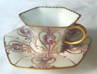 Rosenthal Charming Cabinet Cup & Saucer, Demi Tasse, Gilded And Handpainted • 45£