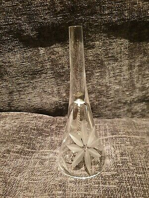 Handcut Crystal Glass Bell Floral Design 18.5cm Tall. • 29.99£