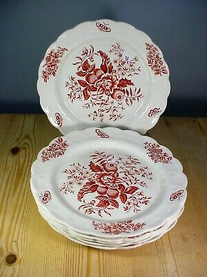 Booths Pink Peony Six Dinner Plates A8021 • 25£