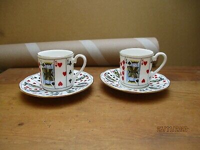 2 Pairs Queens China Cut For Coffee Playing Cards • 5£