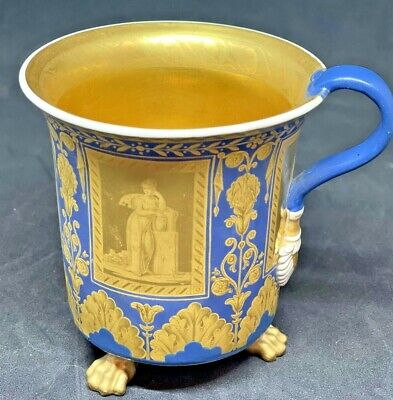 Imperial (kpm) Russian Neoclassical Cabinet Cup, Three Paw Feet, Blue & Gold • 500£