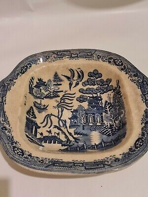 Blue & White Victorian Willow Pattern Open Pie Dish Or Serving Piece • 14.99£