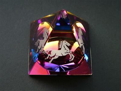 HORSE In A PYRAMID COLOURED CUT GLASS CRYSTAL ORNAMENT • 12.99£