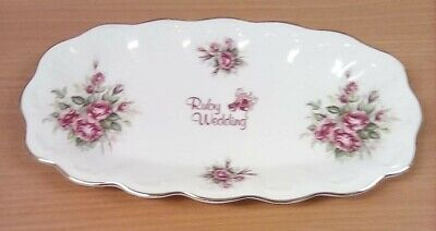 Queen's China - Ruby Wedding Oval Plate (26 Cm In Length) • 8£