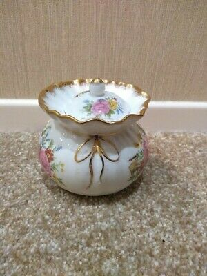 Vintage Fenton English Bone China Trinket Bowl And Lid With Floral Rose Pattern • 4.99£