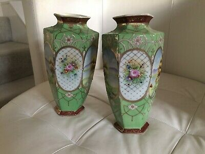 REDUCED ------ VINTAGE PAIR Japanese Oriental KINJO CHINA NIPPON VASES  • 39.99£