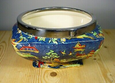 Royal Winton / Grimades  Pekin  Chinoiserie Bowl In Blue - Silver Plate Rim • 30£