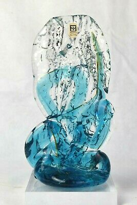 Stunning Vintage Mdina Art Glass Textured Sculpture Blue Ice Signed With Label • 49.99£