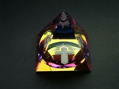 CROSS In A PYRAMID COLOURED  CUT GLASS CRYSTAL ORNAMENT • 12.99£