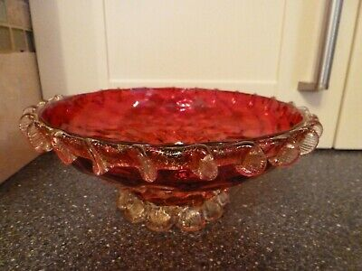 Vintage Ruby Glass Frilled .dish • 19.99£
