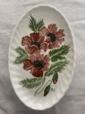 Hand Painted Poppies Flower Oval Dish 1976 • 8.50£