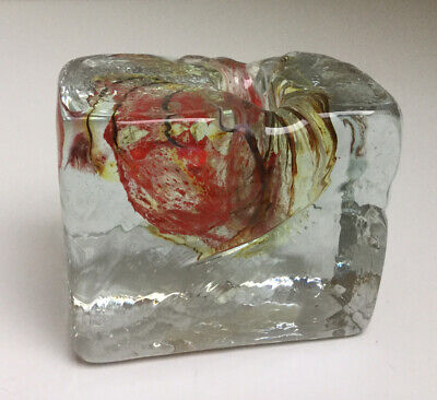 VINTAGE ISLE OF WIGHT TEXTURED GLASS BLOCK CANDLE HOLDER 1970's-ORIGINAL LABEL • 13.99£