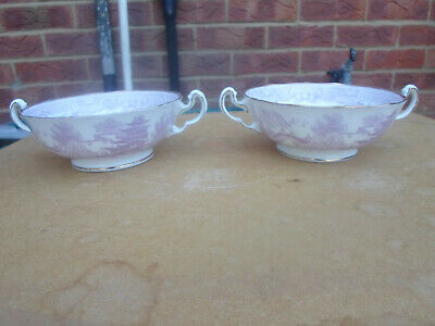 Rare Adderley Pink Willow Pattern Coupe Or Handled Soup Bowls X 2 • 5£