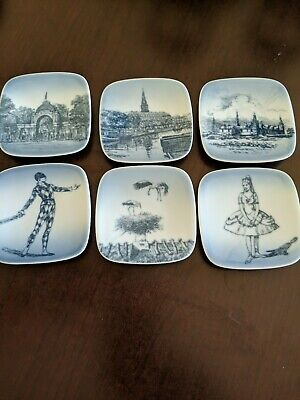 BING AND GRONDAHL BONFILS SET OF 6 MINI 3 1/4 IN WALL PLATES Denmark • 13.89£
