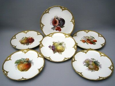 KPM Ornamented 6x Fruit Plate With Painting & Gold 1st Choice,Top Zustand15-0119 • 724.02£