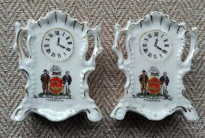 Pair Of Gemma Crested Mantle Clocks, Crests Of Tynemouth • 5£