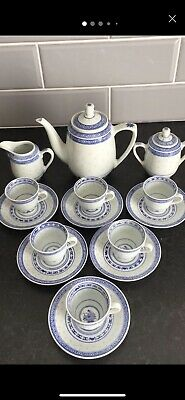 Vintage Coffee Set Blue And White Made In China. 15 Pieces. • 8£