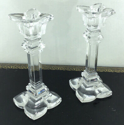 Pair Of Clear Glass Vintage Candlesticks • 15£