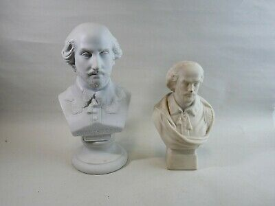 Antique Parian Busts Of Shakespeare X2 • 40£