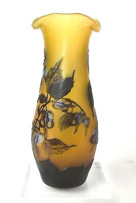 Quality Cameo Glass Vase Galle Style Commemorating 2002 Rotary International • 74.99£