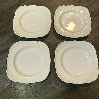 Canonsburg Pottery Square Salad Plates American Traditional White Set Of 4  • 29.45£