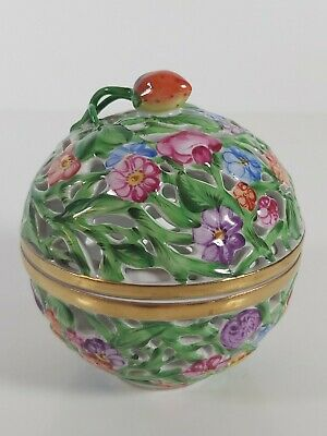 Herend Porcelain Reticulated Trinket Box , Hand Painted 10cm High X 9cm Across  • 104£