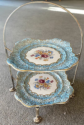 Vintage  Alice Blue  2 Tier Cake Stand For Yeoman Plate By Lancaster & Sandland • 35£