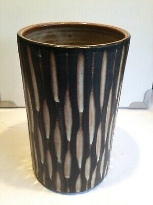 Tall Cylindrical Briglin Pottery Studio Art Pottery Vase - Incised Decoration • 49.99£