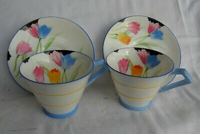 2 X Paragon Art Deco Tulip Pattern Coffee Cups & Saucers-Some Damage • 5.99£