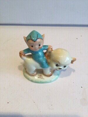 Rare Shelley Mabel Lucie Attwell Bone China Boo Boo Pixie Figure On Puppy • 199£