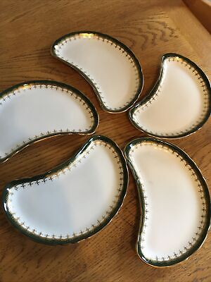 5 X AYNSLEY CRESCENT GREEN & GOLD SALAD SIDE PLATES • 4.99£