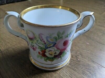 1859 Quality Personalized Floral Porcelain Loving Cup Initials GCJ / GNJ Welsh ? • 4.99£